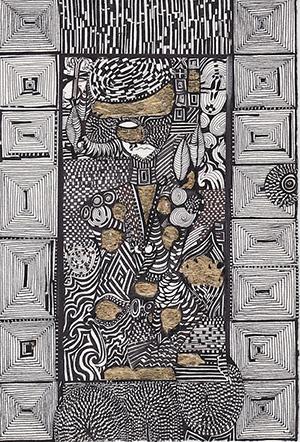 Sharis Garabedian,  Sayat – Nava de Paradjanov Chinese Ink & Gold Leaf on Paper, 28 cm x 19 cm