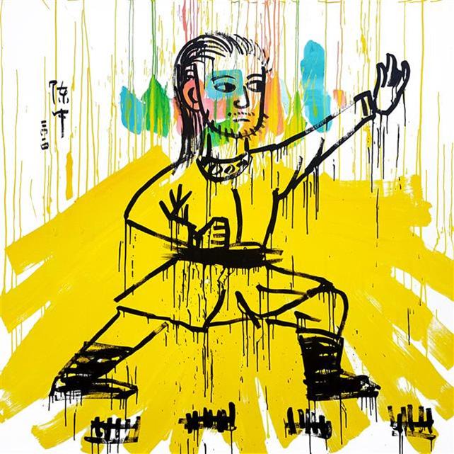 Zhong Chen,  Kung-Fu #14, Oil on linen, 137 x 137 cm