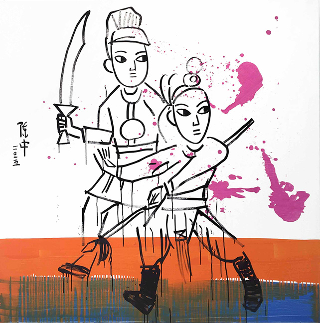 Kung-Fu 1 by Zhong Chen, Oil on Linen, 120 cm x 120 cm