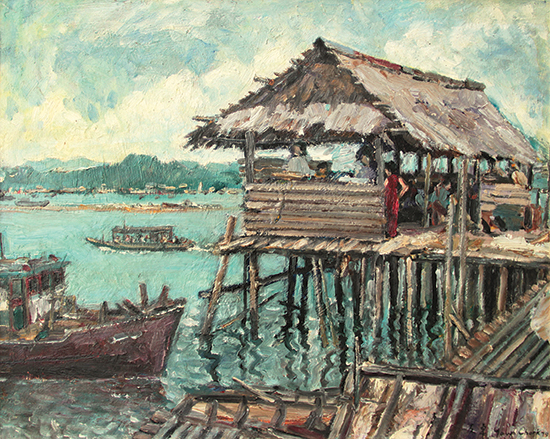Fung-Yow-Chork-By-The-Jetty-Pulau-Ketam-1979-40cm-x-50cm-oil-on-canvas-laid-on-board
