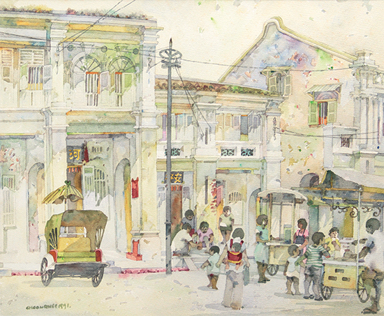 Tan-Choon-Ghee-Penang-Street-Scene-1991-52cm-x-63cm-watercolour-on-paper