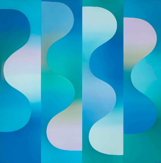 Anthony Poon, P7-W-B64 on 4P Waves, 1991, acrylic on canvas, 72 x 72 x 6.7 inches / 183 x 183 x 17 cm
