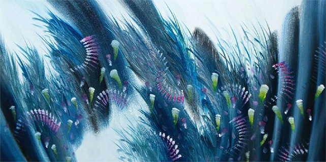 Tang Hong Lee, Nature's Spectacles 10, oil on canvas, 46 x 91.5 cm