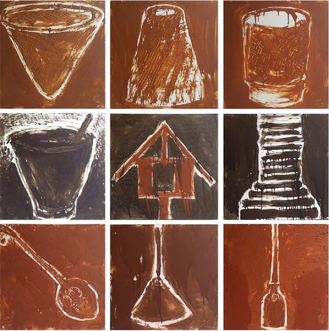 Vasan Sitthiket, Farmers Series, 1998, clay on canvas, 100 x 100cm (each)