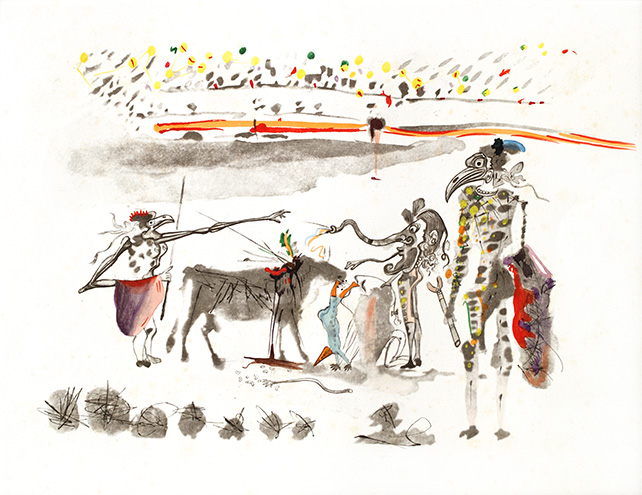 Bullfight with Parrots, 1967, Heliogravure reworked in drypoint and hand-coloured on paper, 51 x 66cm, Editions I-C on Japanese paper, 1-150 on Arches paper