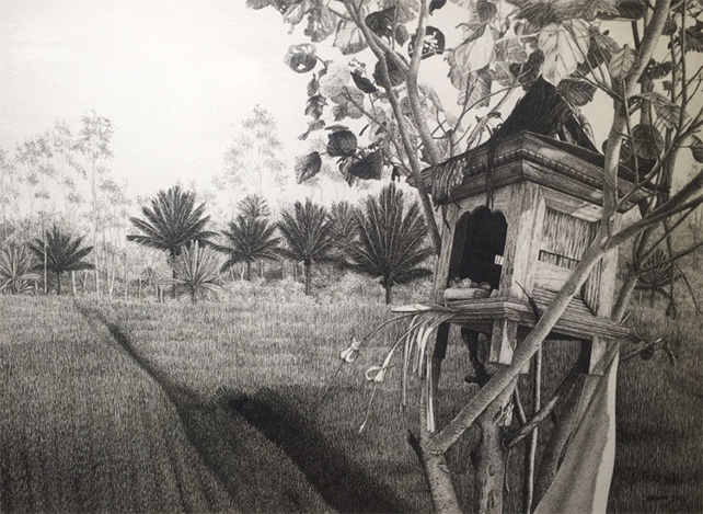 Blessed Paddy Fields by Yoyon, 2013, Pen and Ink on Paper, 24 x 33 cm