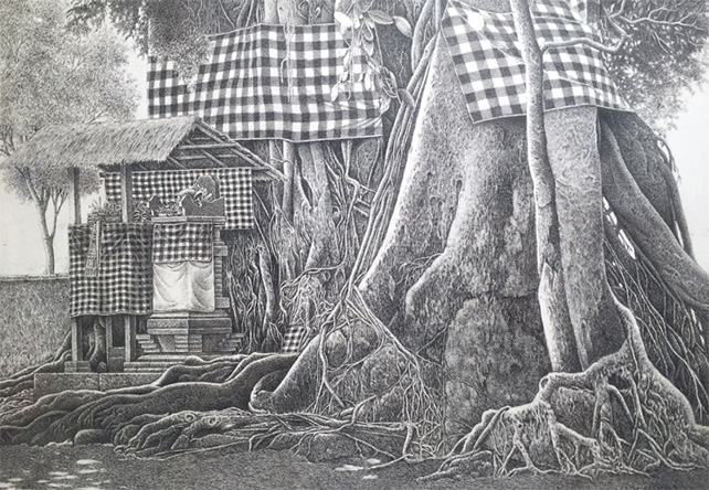 Sacred Banyan Tree I by Harijadi, 2013, Pen and Ink on Paper, 24.5 x 34.5 cm