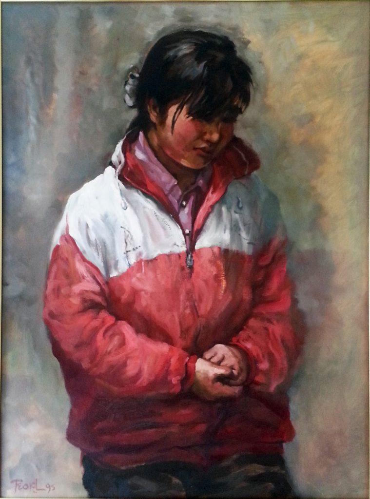 20130926-羞答答的小妹 Shy Girl 油彩麻布 Oil on Linen 87 x 65cm 1995