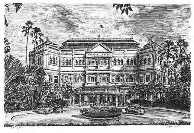 Raffles Hotel by Stephen Wiltshire
