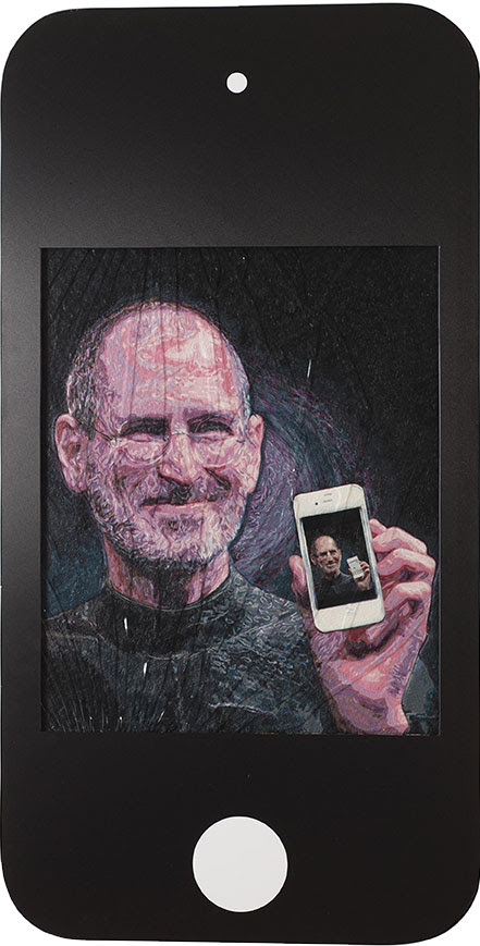 Steve Jobs, 2016 Micromosaic  of chewingum, shatterprrof glass, 125 x 65 cm