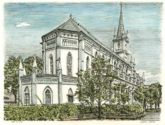 St. Andrew's Cathedral, Singapore, by Stephen Wiltshire