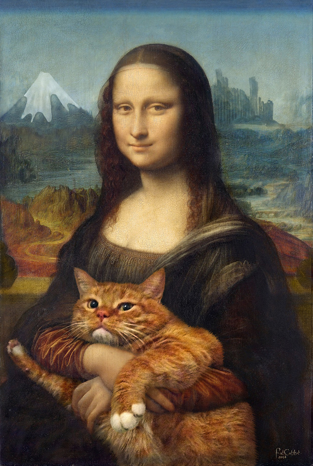 Mona Lisa with her Cat at Sazai Hall-Temple of Five Hundred Rakan, Thirty-seventh view of Mount Fuji, Ready Meme 2014 (Edition of 8), 47cm by 70cm, Mixed Media