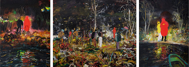 Alvin Ong, We Will Meet (2016), Oil on Canvas - triptych, 41 x 110 cm