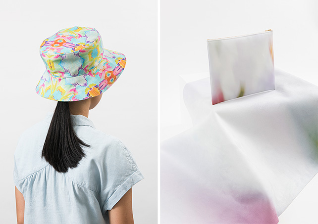 left: Bucket hat by Estella, right: Drawstring bag by Jovian Lim