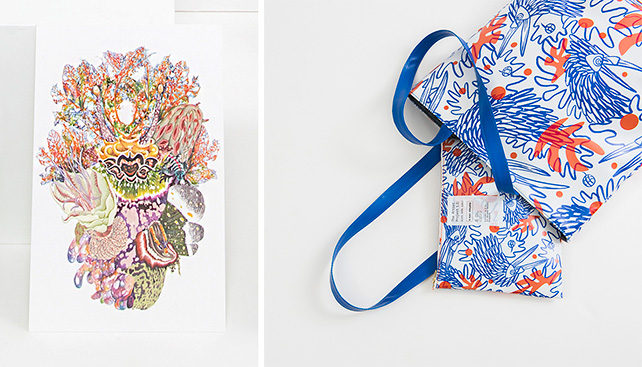 left: Postcard by Adeline Tan, right: pouch, outdoor bag by Agriardi