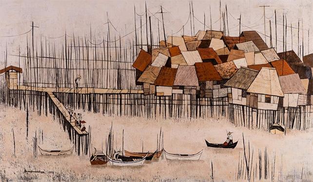 Tay Bak Koi, Fishing Village Scenery, 1983, Oil on Canvas