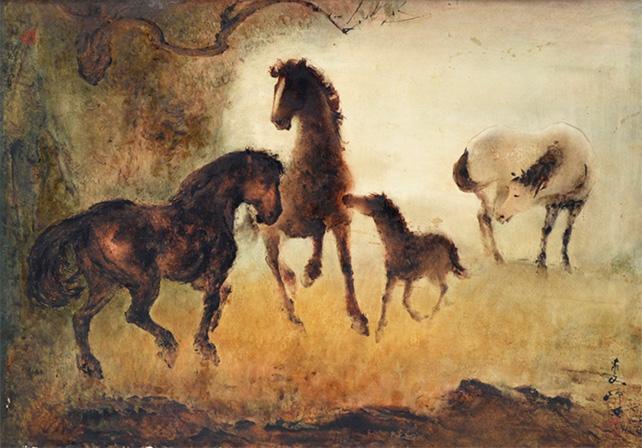 Lee Man Fong, Harmonious Horses, Oil on Masonite Board