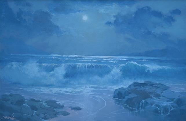 Basoeki Abdullah, Moon Light Sonata, Oil on Canvas