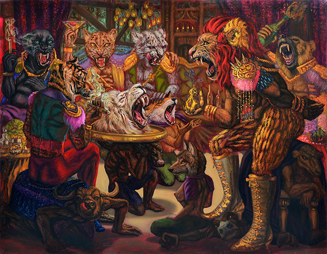 Number 1 Gallery from Thailand presents Leela Promwong, Patronage System 2, Oil on canvas, 140 x 180cm, 2016