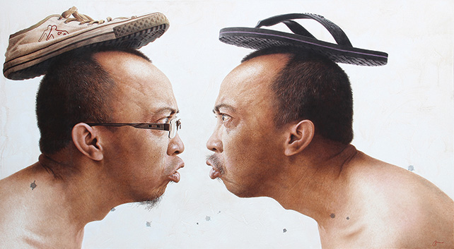 Art Xchange Gallery presents Antoe Budiono, Berebut Benar (Who's Right), Acrylic on canvas, 225cm x 125cm, 2016