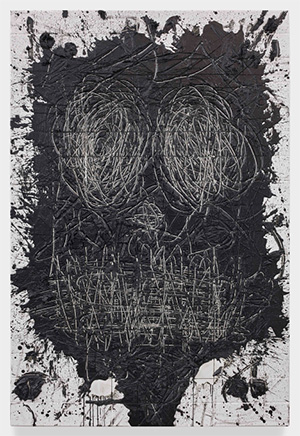 Rashid Johnson (U.S.A.), Untitled (Anxious Men), 2015, white ceramic tile, black soap, wax, 184.2 x 125.7 x 6.4 cm, Image courtesy of the private collection of Kenneth Tan